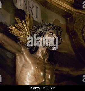 Spain. Cantabria. Limpias.  The Christ of Limpias. Church of St. Peter. Unknown origin. 18th Century. Detail. - Stock Photo