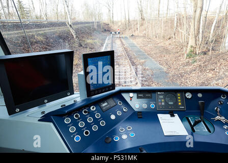 Berlin, Germany - In the driver's seat of a class 481 S-Bahn. - Stock Photo