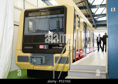 Berlin, Germany - Model on a scale of 1: 1 of the new S-Bahn class 483 - Stock Photo