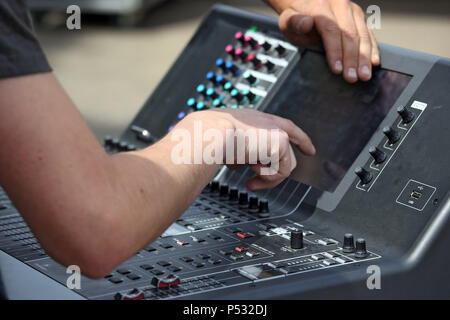 Hannover, Lower Saxony, Germany, sound setting at a mixer - Stock Photo