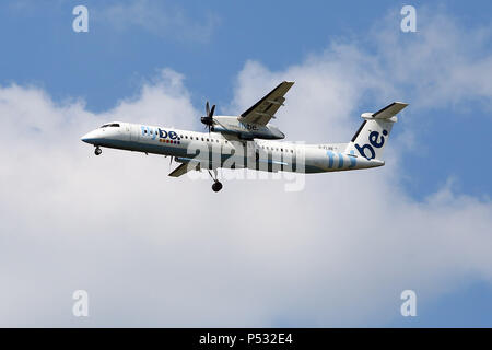 Hannover, Lower Saxony, Germany, Bombardier DHC-8-Q-402 of the airline flybe - Stock Photo