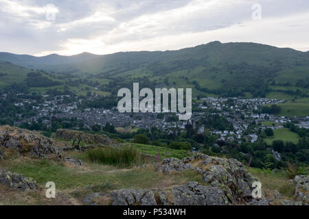 Ambleside from Loughrigg Fell at sunrise, Lake District, England, UK - Stock Photo