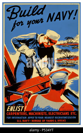 WW2 1940's American Propaganda Poster encouraging skilled laborers to join the 'Seabees' as part of the war effort: 'Build for your Navy!  Enlist! Carpenters, machinists, electricians etc. ' World War 2 Recruitment Propaganda US Navy Bureau of yards & docks - Stock Photo