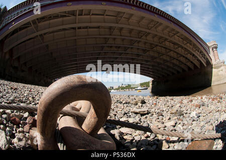 low fish eye of a bridge over the thames - Stock Photo
