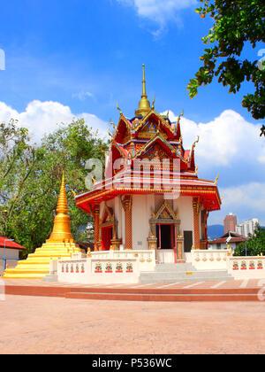 Pavilion in Pulau Tikus, thai Buddhist temple (Wat Chayamangkalaram), famous tourist attraction in Georgetown, Penang island, Malaysia - Stock Photo