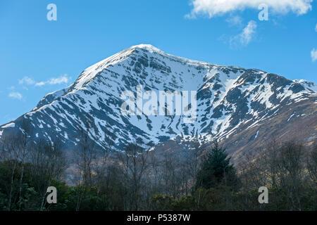 Sgorr Dhearg, Beinn a' Bheithir range, from the Ballachulish Slate Quarry, near Glencoe, Highland Region, Scotland, UK - Stock Photo