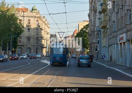 Belgrade, Serbia - May 03, 2018: Morning traffic on Karadordeva street. - Stock Photo