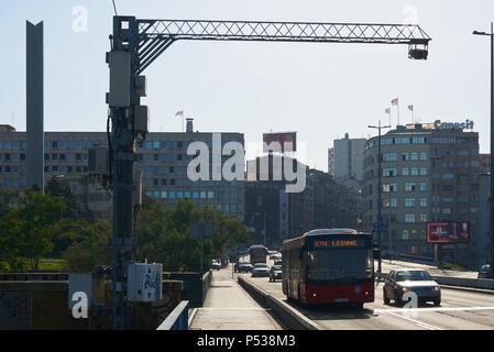 Belgrade, Serbia - May 03, 2018: Morning view Brankov bridge - Stock Photo