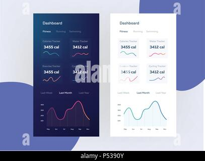 Fitness app. Ui ux design. Web design and mobile template. Infographic on benefits of healthy lifestyle - Stock Photo