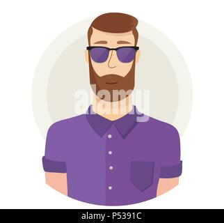 Man character hipster face avatar in glasses. Modern flat style. Male portrait. Vector cartoon illustration. - Stock Photo