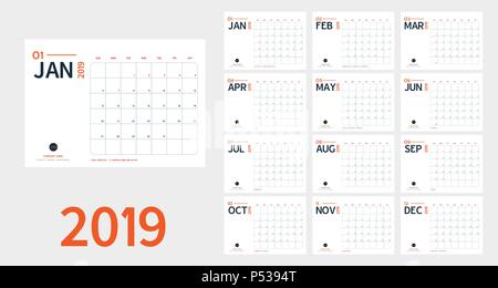 Vector of 2019 new year calendar in clean minimal table simple style and blue and orange color,Holiday event planner,Week Starts Sunday.include holida - Stock Photo