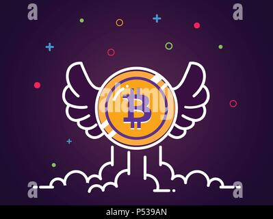 Bitcoin with wings flat illustration. Bitcoin icon flying in the sky. Crypto currency bit coin. Cryptocurrency emblem. Web Vector illustration. EPS 10 - Stock Photo