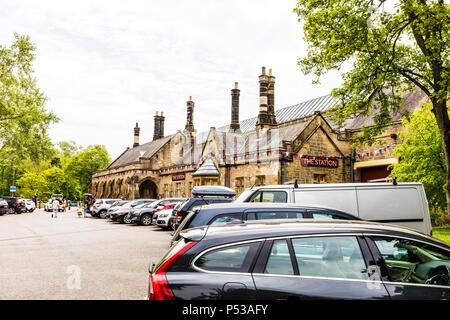 the station Richmond, Richmond Yorkshire UK, the station Richmond yorkshire, Disused railway station at Richmond Station North Yorkshire, building, UK - Stock Photo