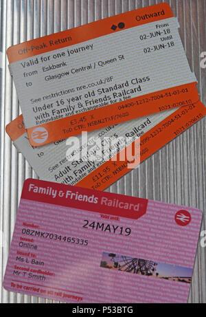 Friends & Family railcard and two Scotrail train tickets, Adult & Child, Eskbank, Midlothian, Borders Railway, Scotland, UK - Stock Photo