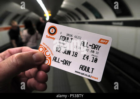 Glasgow subway All Day Smartcard, SPT underground railway, city centre train / railway, Strathclyde, Scotland, UK - Stock Photo
