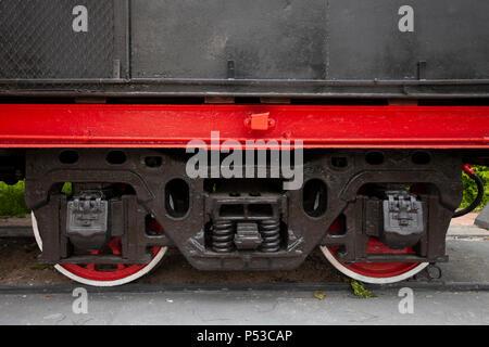 The locomotive-monument L-3291. Powerful, beautiful Russian locomotive. Wheels close-up. Steam engine. - Stock Photo