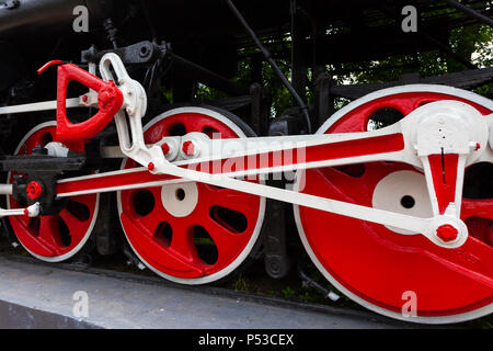 The locomotive-monument L-3291. Powerful, beautiful Russian locomotive. Wheels close-up. Steam engine. - Stock Photo
