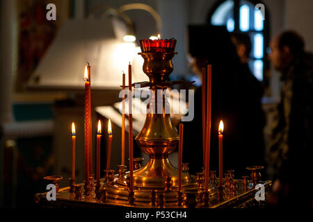Church candles. Ministry in the Orthodox Church.