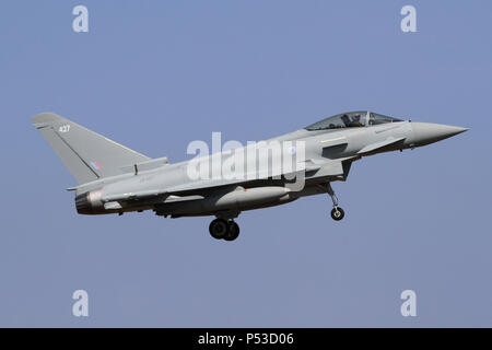 This Eurofighter Typhoon FGR4 was one of the newest in service with the Royal Air Force when photographed. - Stock Photo