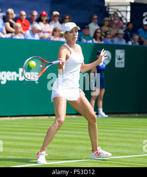 Danielle Collins of USA plays a shot against Katie Swan of Great Britain during the Nature Valley International tennis tournament at Devonshire Park in Eastbourne East Sussex UK. 24 June 2018