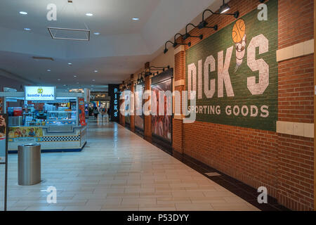 UTICA, NEW YORK, USA - JUNE 23, 2018 : The Sangertown Mall mall is the largest shopping mall in Utica City and surrounding towns with numerous brand n - Stock Photo