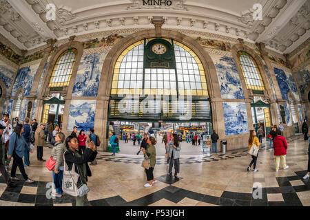 central hall with Azulejos, tile panels, train station Sao Bento,  Porto, Region Norte, Portugal, Porto, - Stock Photo