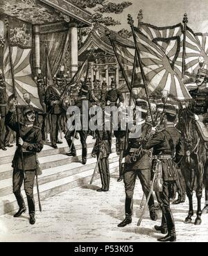 Russo-Japanese War (1904-1905). The Japonese emperor Meiji (1852-1912) delivering the flag to his troops. Engraving. - Stock Photo
