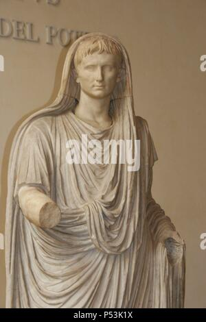 Augustus ( 63 BC Ð 14 AD). Was the founder of the Roman Empire and its first Emperor, ruling from 27 BC-14 AD. Statue Via Labicana Augustus. Augustus as Pontifex Maximus. 12 BC. Detail. National Museum of Rome. Italy. - Stock Photo