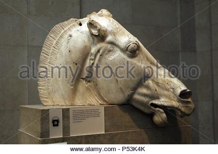 Greece. Athens. Parthenon. Head of horse from the chariot of the moon-goddes Selene. East pediment. 5th C. BC. British Museum. London. United Kingdom. - Stock Photo