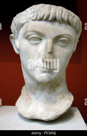 Portrait head from a statue of a prince of the Julio-Claudian dynasty, perhaps the younger Drusus, son of the roman emperor Tiberius. Marble. 20-40 AD. From Kyrenia (Cyprus). British Museum. London. England. United Kingdom. - Stock Photo
