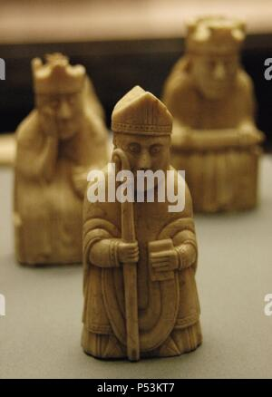 The Lewis Chessmen. Carved in walrus ivory. 1150-1175. Located in Uig. Island of Lewis. Scotland. British Museum. London. England. United Kingdom. - Stock Photo