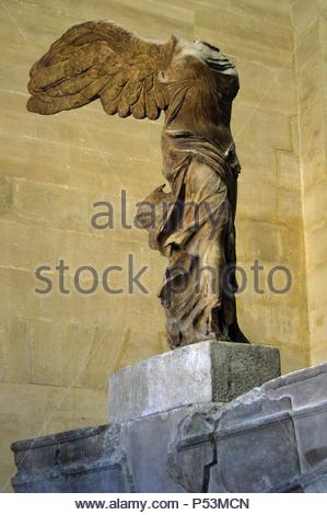 Greek art. Winged Victory of Samothrace or Nike of Samothrace. 2nd century BC. Marble. Sculpture of the greek goodess Nike (Victory). Museum of Louvre. Paris. France. - Stock Photo