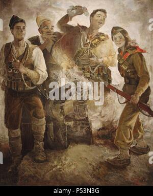 Victorious Resistance Fighters by Nestor Jonuzi (b.1944). National Art Gallery. Tirana. Republic of Albania. - Stock Photo