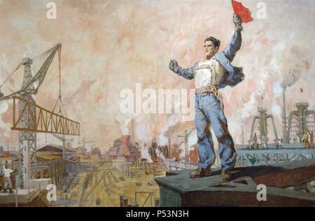 Petro Kokushta (b.1943). Albanian painter. Montatori, 1979. National Art Gallery. Tirana. Republic of Albania. - Stock Photo