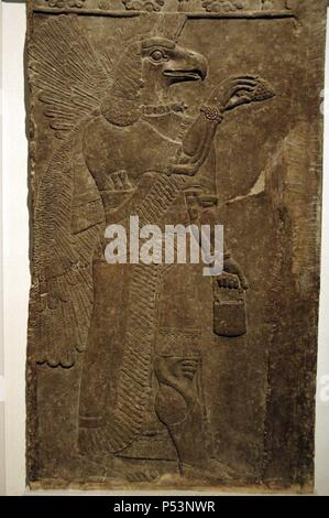 Relief depicting a Eagle-headed protective spirit. 865-860 BC. From the Temple of Ninurta. Nimrud. British Museum. London. United Kingdom. - Stock Photo