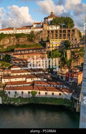 View from Dom Louis I bridge over Douro river, Mosteiro da Serra do Pilar, Monastry in the background, Porto, Portugal Porto, Portugal - Stock Photo