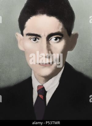 Franz Kafka (1883-1924). Czech writer in German language. Portrait. Colored. - Stock Photo