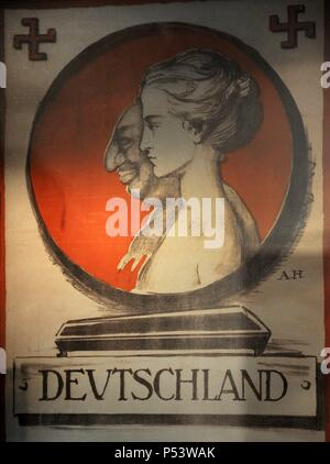 Nazism. Germany. 20th century. Poster anti-Semitic of the Nazi Party, 1920 (reproduction). Original at the Deutsches Historisches Museum in Berlin. Jewish Museum Berlin. Germany. - Stock Photo