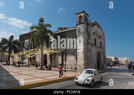 the church of san juan in the historic old town of san francisco de campeche, campeche, mexico - Stock Photo