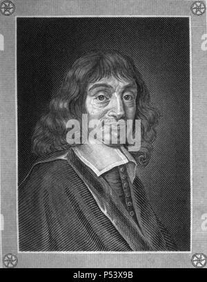 René Descartes (1596-1650), filósofo, matemático y físico francés. Grabado de 1857. - Stock Photo