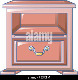 Red nightstand icon, cartoon style - Stock Photo