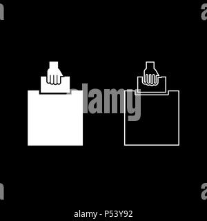 Hand puts a blank in a box for suggestion the voter throws a ticket icon set white color vector I flat style simple image - Stock Photo