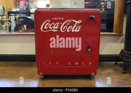 Coca cola antique cooler at Glenview Park District's working Wagner Farm in suburban Chicago, Illinois. - Stock Photo