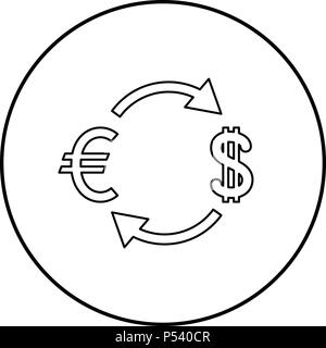 Currency exchange icon black color in circle round outline - Stock Photo