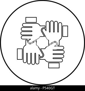 Four hand holding together team work concept icon black color in circle round outline - Stock Photo