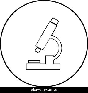 Microscope icon black color in circle round outline - Stock Photo