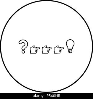 Problem solution concept icon black color in circle round outline - Stock Photo
