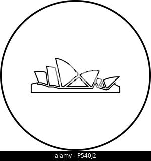 sydney opera house icon black color in circle round outline p540j2 - 37+ Outline Picture Of Sydney Opera House  Images