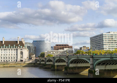 London Great Britain, October 12 2017, Sunny autumn day in the beautiful city, Nice architecture of buildings and bridges - Stock Photo