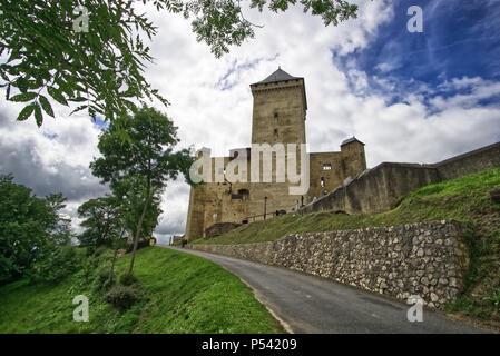 Medieval castle in french village of Mauvezin, hautes pyrenees, France - Stock Photo